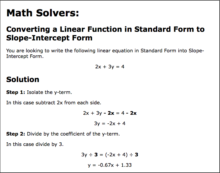 intercept form math  New Math Solver: Converting from Standard Form to Slope ...